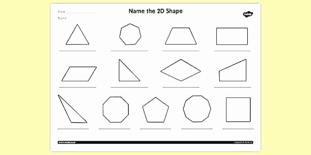 Two Dimensional Shapes Worksheets Two Dimensional Shapes Worksheets