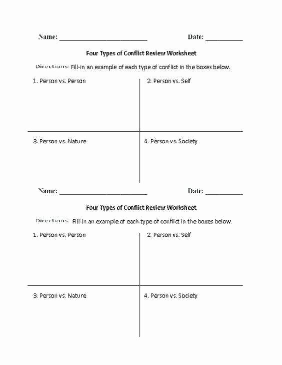 Types Of Conflict Worksheet Conflict Worksheets Types Conflict Worksheets for Middle