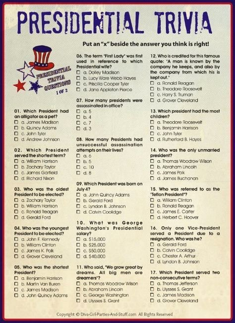 United States Capitals Quiz Printable Presidential Trivia An American Presidents Quiz