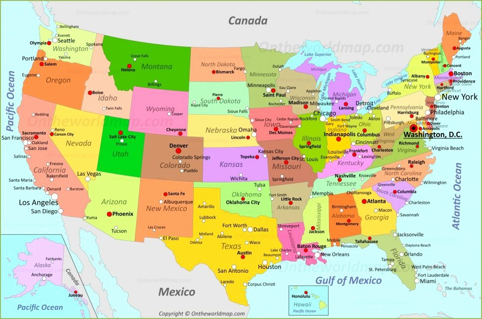 United States Capitals Quiz Printable State Map Of Usa Game