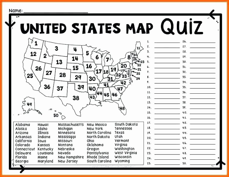 United States Map Quiz Worksheet United States Worksheets