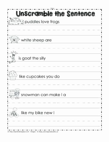 Unscramble Sentences Worksheets Writing Sentences Worksheets Grade Kids for topic Match the