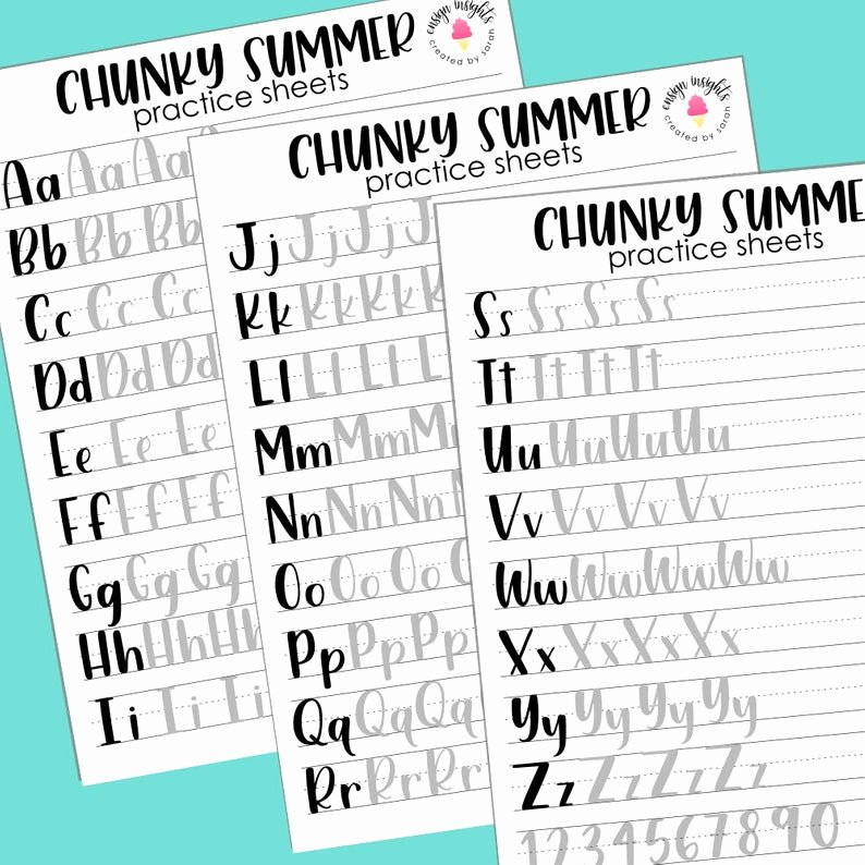 Uppercase and Lowercase Worksheets Chunky Summer Print Style Hand Lettering Practice Sheets Brush Lettering Lettering Practice Large and Small Brush Pens Numbers