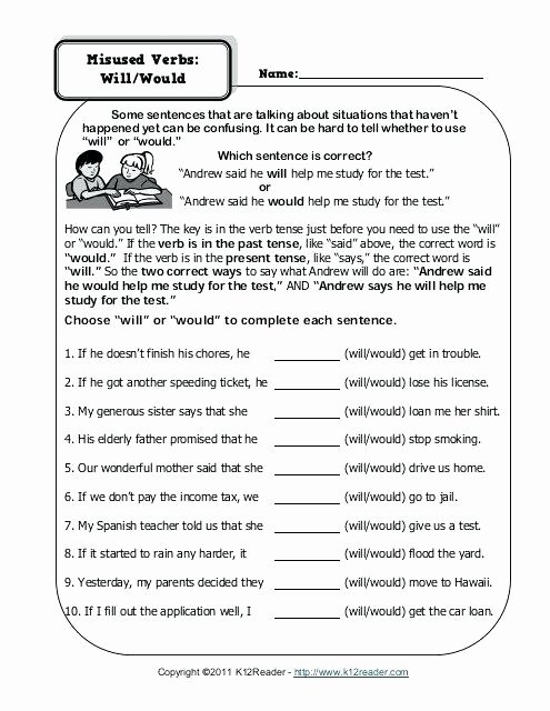Us Geography Worksheets Pdf Misused Verbs Will Would Worksheet Grammar Worksheets From