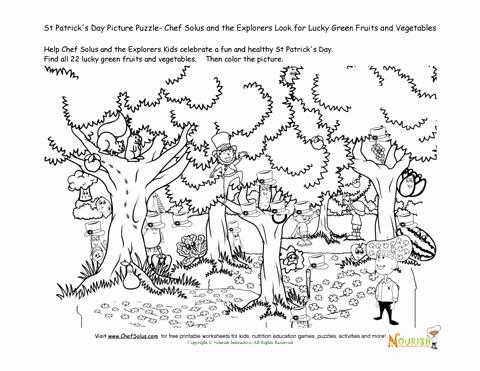Vegetable Worksheets for Kindergarten Kids Cooking Game St Patricks Day