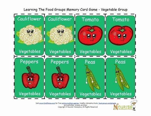 Vegetable Worksheets for Preschool Fun Matching Card Game for Children to Play and Learn About