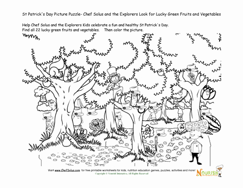 Vegetables Worksheets for Kindergarten Kids Cooking Game St Patricks Day