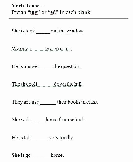 Verb Tense Worksheets 2nd Grade Grammar Tenses Worksheets Full Size Grammar Worksheets
