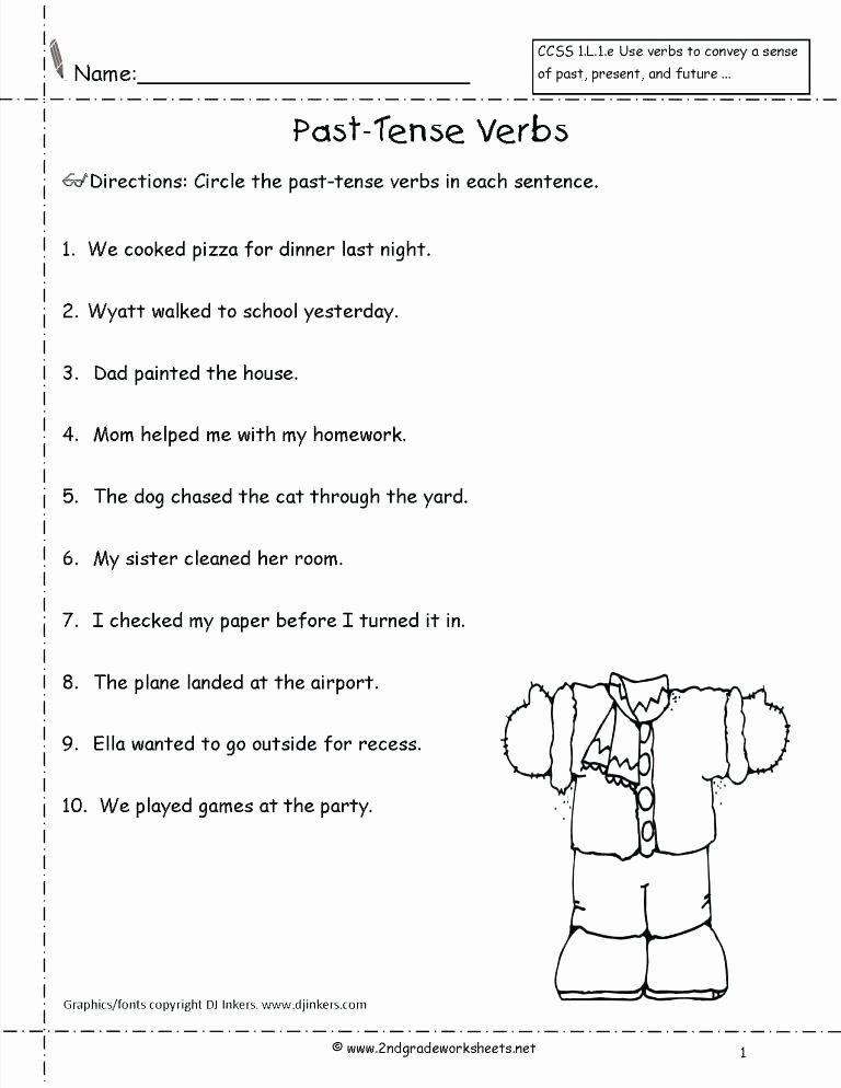 Verb Tense Worksheets Middle School Past Tense Worksheets for Grade 2 Past Tense Worksheets Past