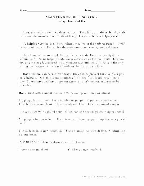 Verb Tense Worksheets Middle School Verb Tense Worksheets High School