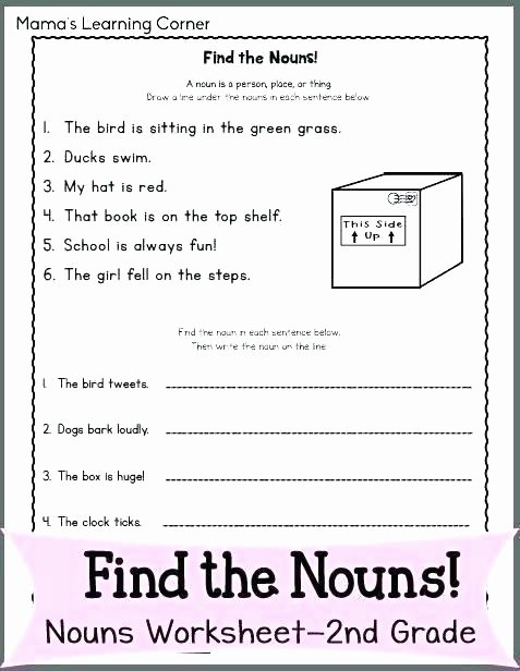 Verb Worksheet 2nd Grade 4th Grade Nouns and Verbs Worksheets