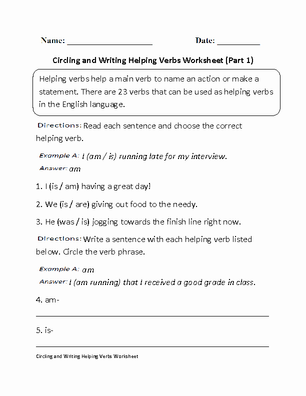 Verb Worksheet 2nd Grade Helping Verb Worksheet Redwoodsmedia
