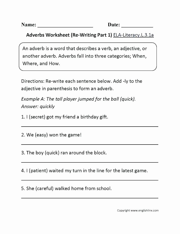 Verbs Worksheet 4th Grade Adverb Worksheets 4th Grade
