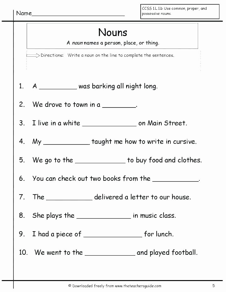 Verbs Worksheet 4th Grade Noun Verb Worksheets Grammar Nouns Verbs and Adjectives