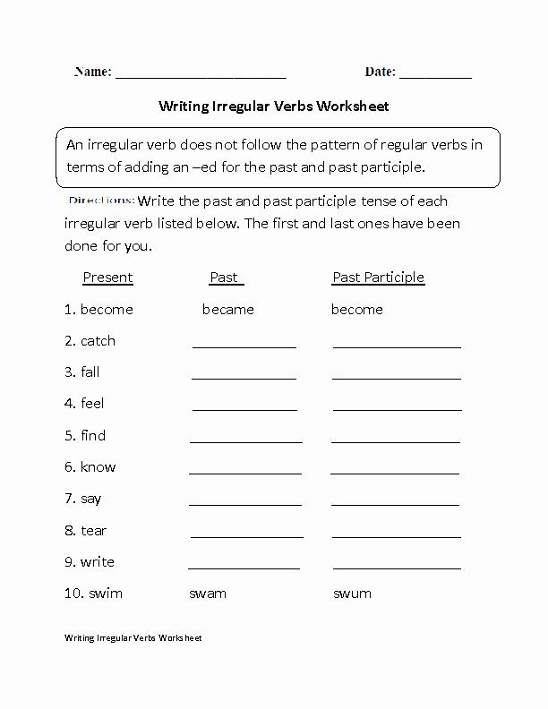 Verbs Worksheet First Grade Irregular Verbs Worksheets for First Grade