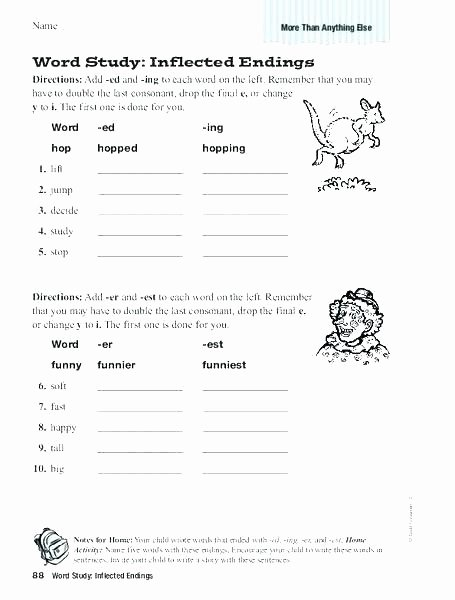Verbs Worksheets First Grade Suffix Ed Worksheets Add and Verb Ends S Er Est for First