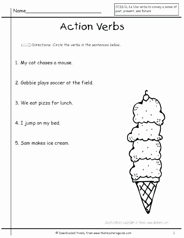 Verbs Worksheets First Grade Verb Worksheets 1st Grade