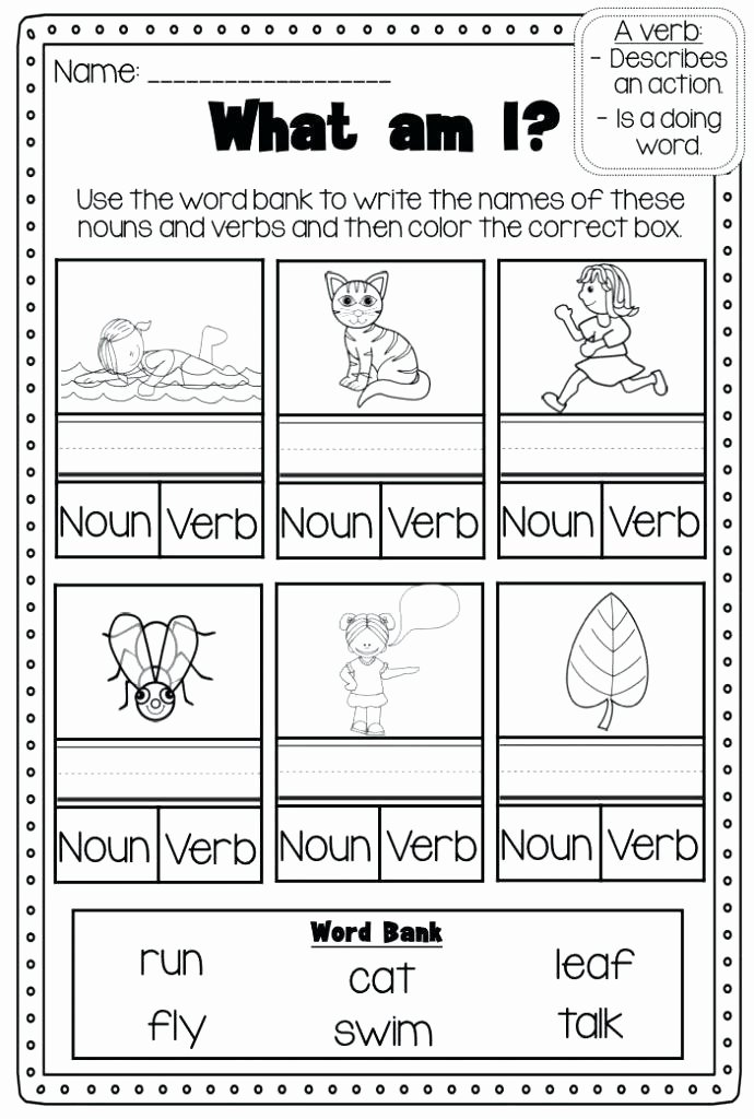 Verbs Worksheets for 1st Grade 1 Grade Parts Speech Worksheets Quiz Free 5 Action Verbs