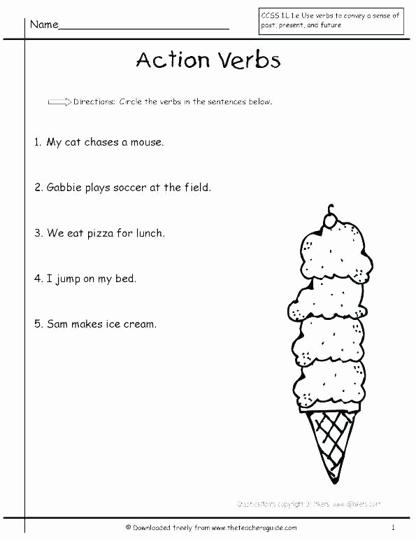 Verbs Worksheets for 1st Grade Verbs Worksheets for First Grade