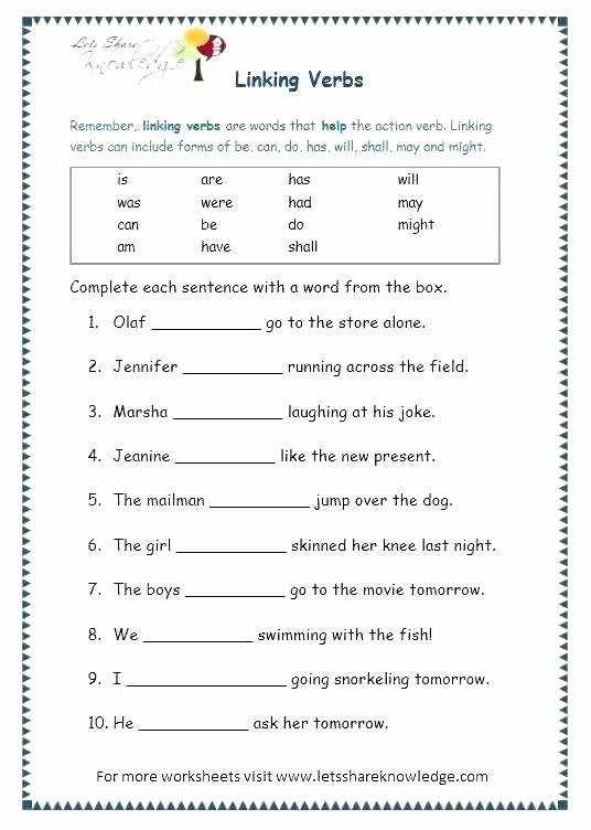 Verbs Worksheets for Middle School Action and Linking Verbs Worksheets – Odmartlifestyle
