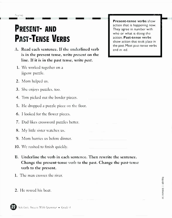Verbs Worksheets for Middle School Past Tense Worksheets for Grade 4