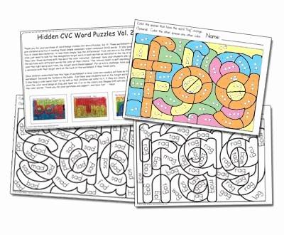 Visual Discrimination Worksheets for Adults Cvc Vol 2 Hidden Word Families Worksheets