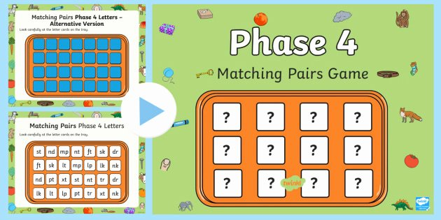 Visual Memory Worksheets Matching Pairs Phase 4 Letters and sounds Memory Powerpoint