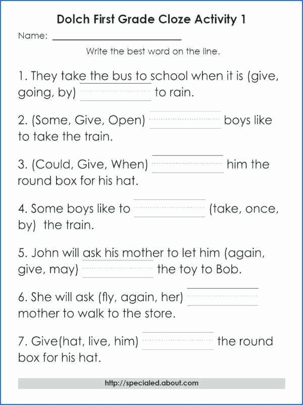 Vocabulary Worksheets for 1st Graders Printable First Grade Context Clues Worksheet Pick the