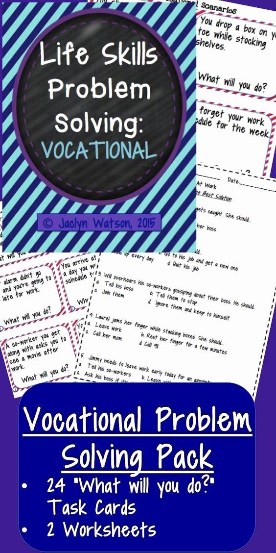 Vocational Skills Worksheet Awesome Life Skills Problem solving Vocational Education