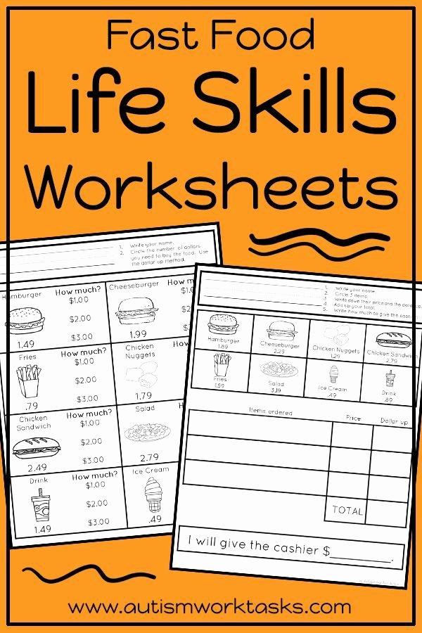 Vocational Skills Worksheets Elegant Life Skills Worksheets Fast Food Restaurants