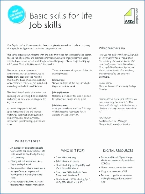 Vocational Skills Worksheets Unique Basic Life Skills Worksheets – Openlayers