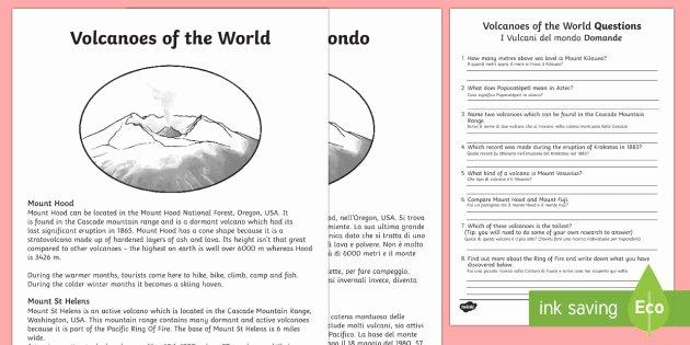 Volcano Worksheets for Kindergarten Lovely World Volcanoes Prehension Worksheet Worksheet English
