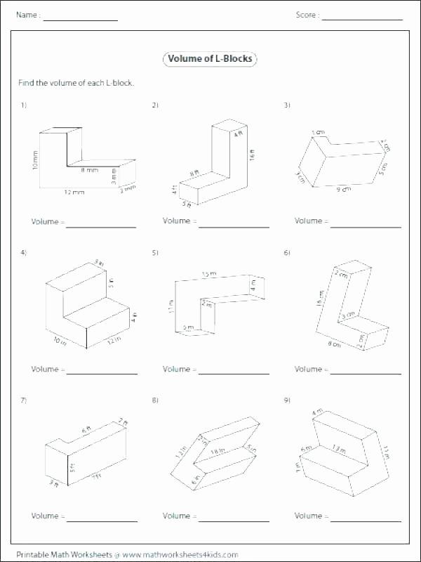 Volume Of Irregular Shapes Worksheet Inspirational area Worksheets 7th Grade Volume Worksheets Answers with