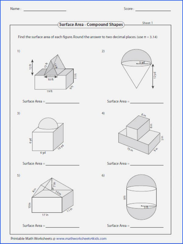 Volume Of Irregular solids Worksheet Surface area Worksheet Pdf Inspirational Geometry Worksheets