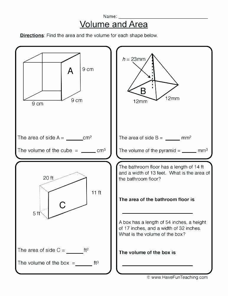 Volume Worksheet 4th Grade Perimeter area and Volume Worksheets Grade Volume Word