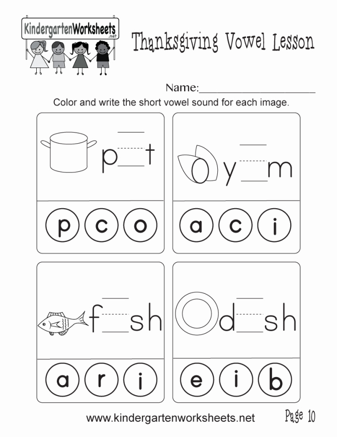 Vowel Consonant E Worksheets Short Vowel sounds Worksheet Thanksgiving Lesson Page 10 E