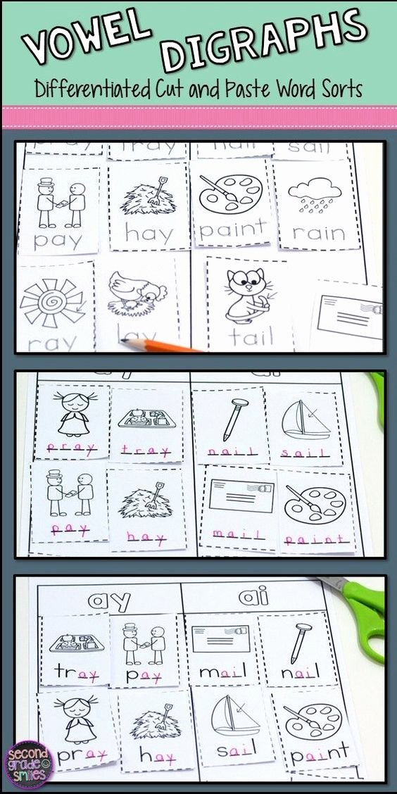 Vowel Diphthongs Worksheet Vowel Teams Worksheets & Diphthongs Worksheets Cut and Paste