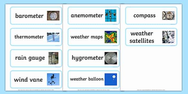 Weather tools Worksheet Weather tools