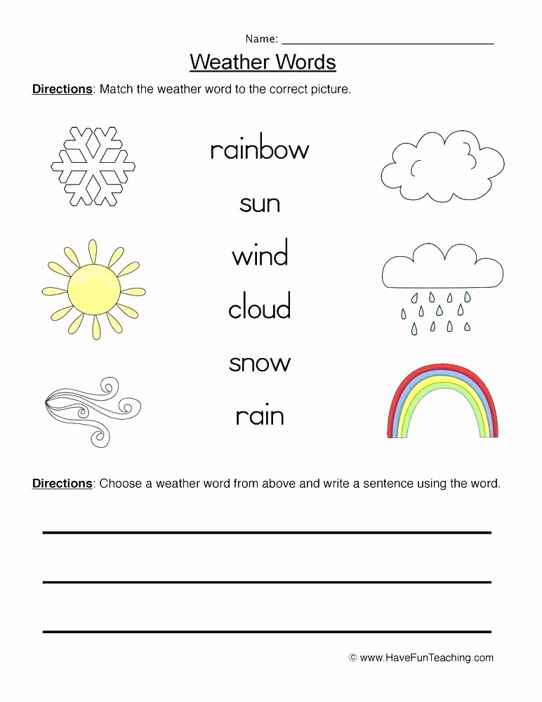 Weather Worksheets for 2nd Grade Weather Worksheets for First Graders Weather Worksheet