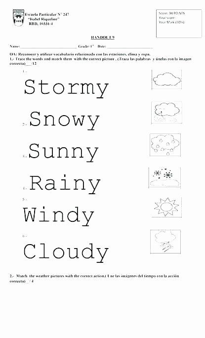 Weather Worksheets for 2nd Grade Weather Worksheets for Kindergarten