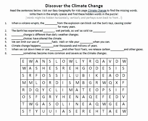 Weather Worksheets for Middle School Weather and Climate Worksheets Weather and Climate