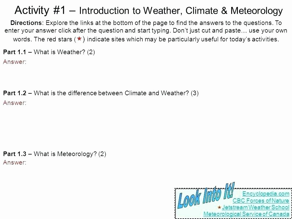 Weather Worksheets for Middle School Weather Worksheets for Middle School Free Seasons