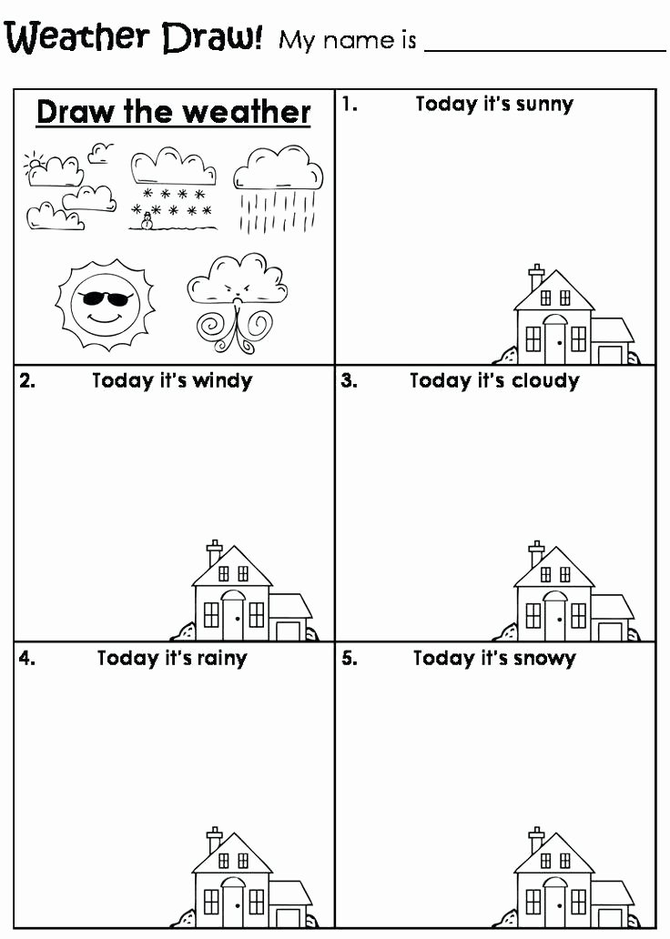 Weather Worksheets for Second Grade Draw the Weather Worksheet Teaching Weather Worksheets Super