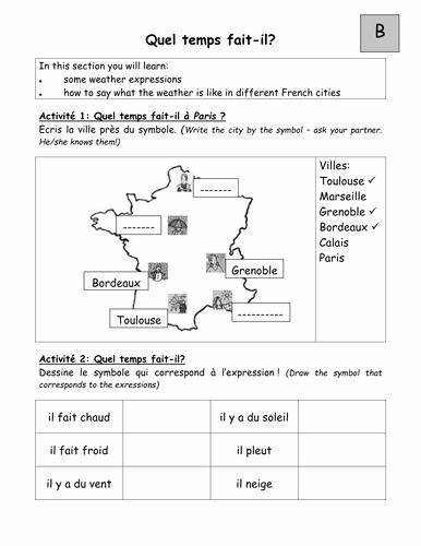 Weather Worksheets for Second Grade Pairwork Worksheets On Weather In Em French Em