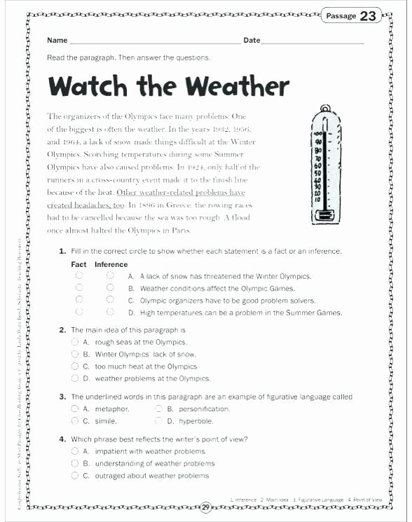 Weather Worksheets for Second Grade Weather Map Worksheets 4th Grade