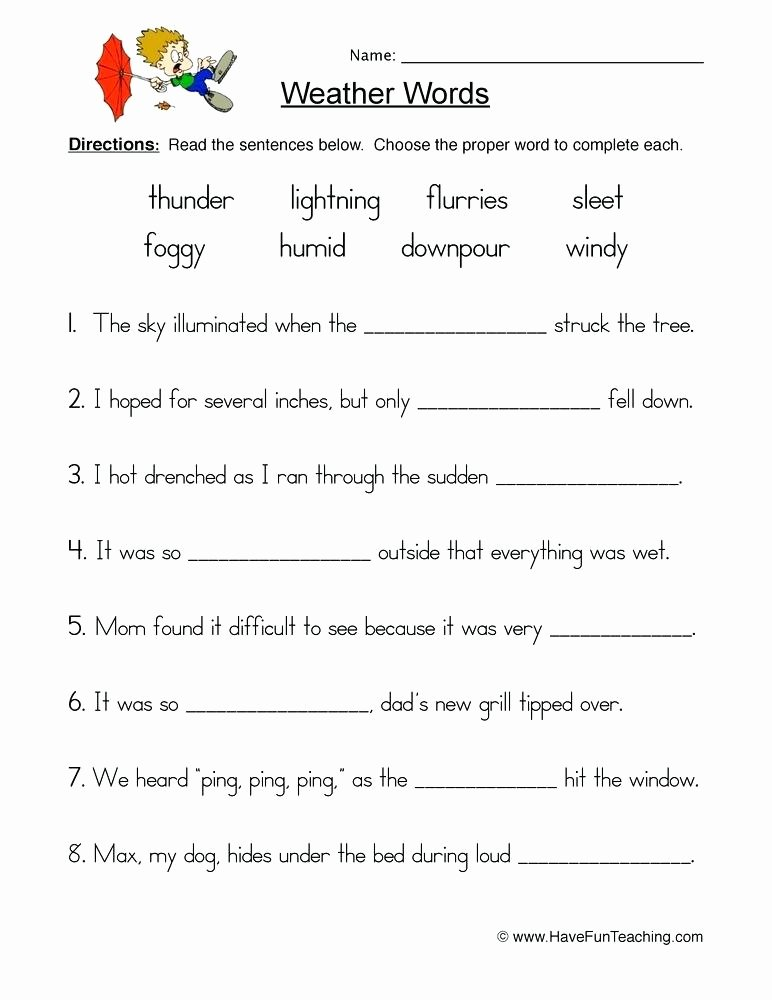Weather Worksheets for Second Grade Weather Worksheet 4 Seasonal Printable Worksheets for Second