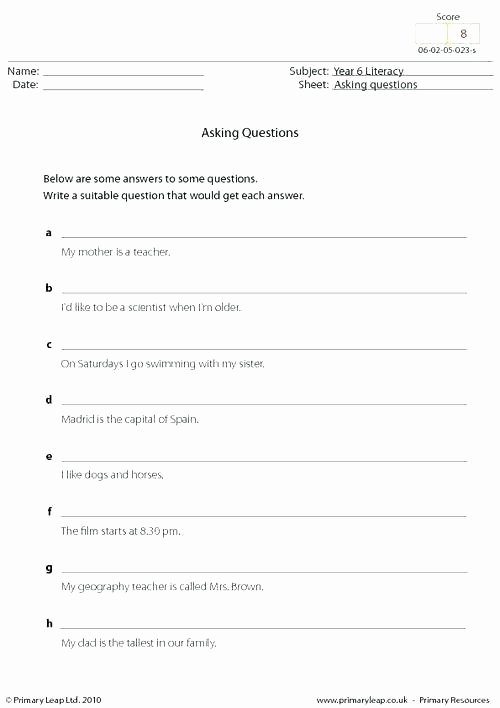Wh Questions Worksheets Pdf formulating Questions Worksheets