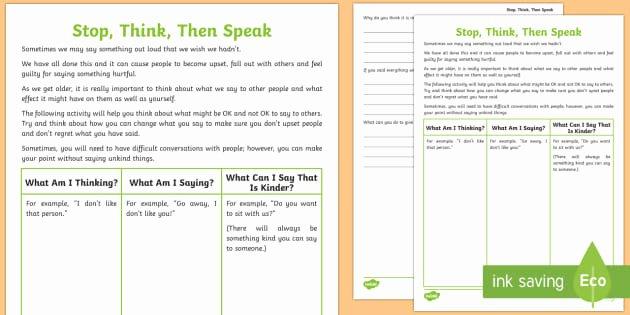 Who Am I Worksheets Inspirational Stop Think then Speak Worksheet