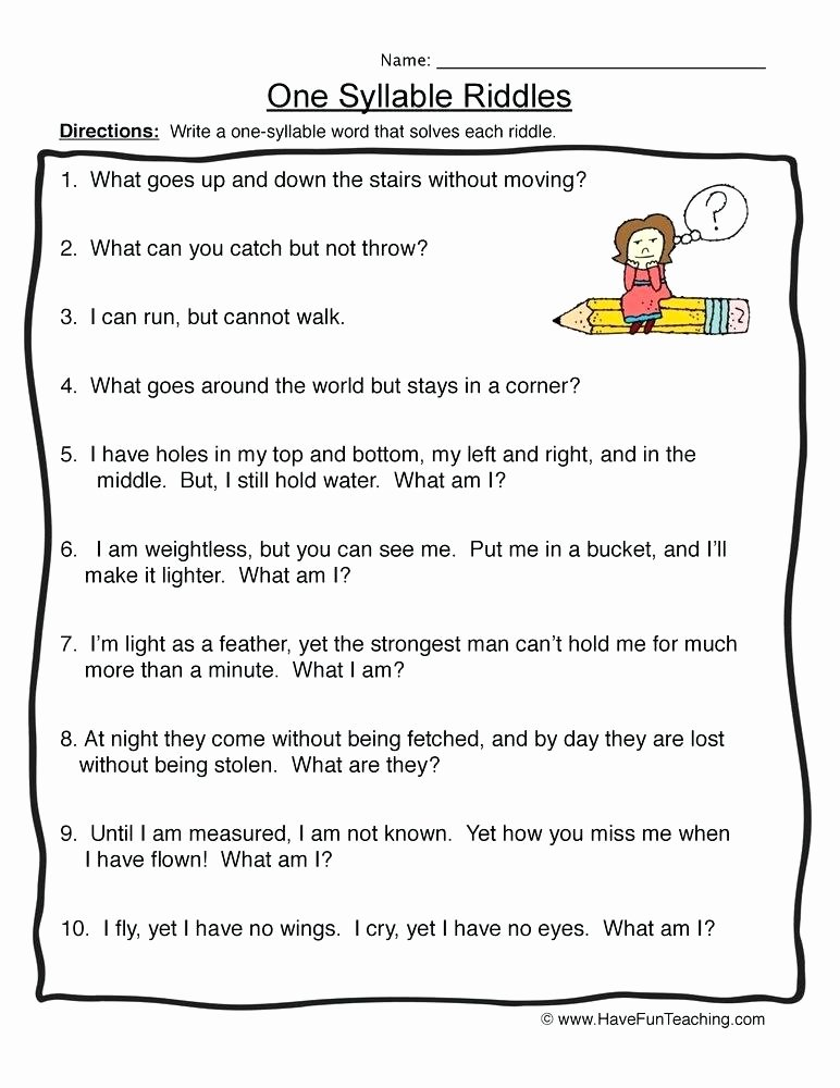Who Am I Worksheets Luxury E Syllable Riddles Worksheet Resources Syllables