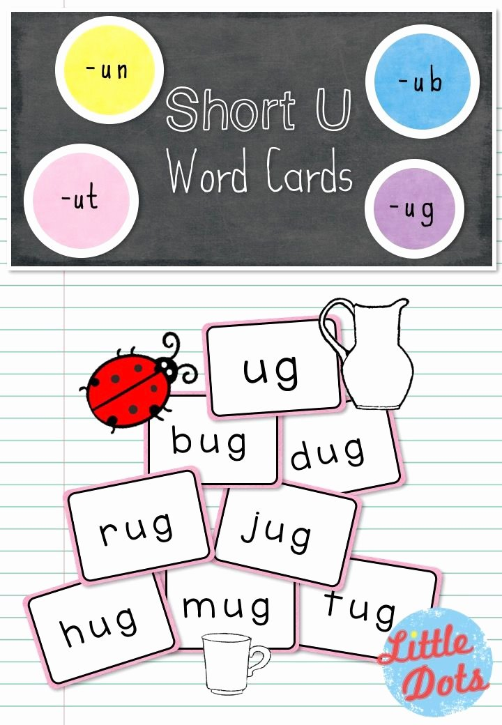 Word Family Worksheet Kindergarten Free Short U Word Family Cards Printable for Un Ub Ut